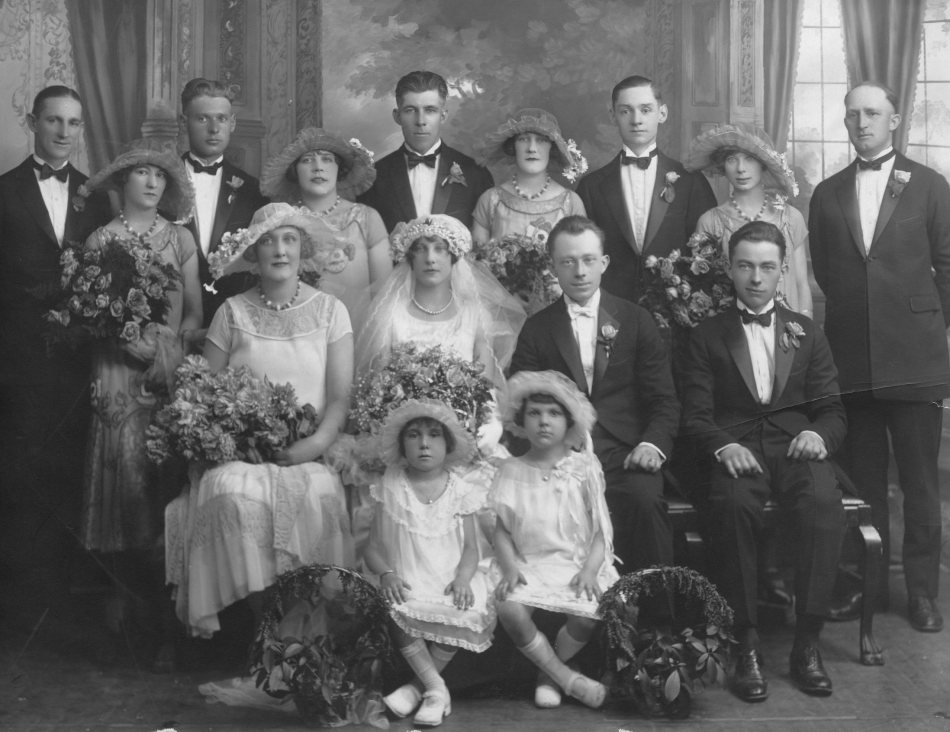 My Aunt Catherine and Uncle Harold's wedding portrait. They don't make silver prints like this any more, It's truly beautiful.