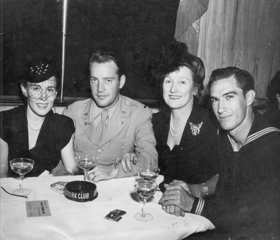 My newlywed parents, along with my Aunt Alice and Uncle Tommy, at The Stork Club, a few weeks before my father left for The Pacific during World War II
