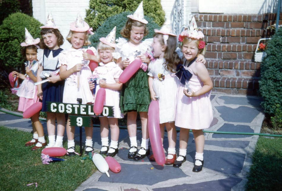 My sister's fifth birthday party. Outside our house in Green Acres.