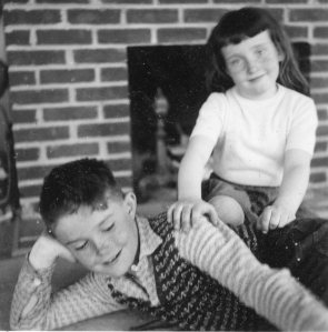 My sister Debbie and I in our Montauk living room