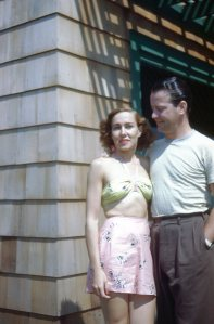 My parents at one of the French's cottages in Hither Hills.