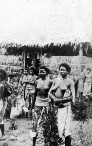 BODACIOUS TATA'S BOUGAINVILLE STYLE - Lt. Al is delighted to find topless natives. Bougainville - Early 1945