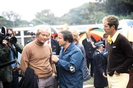 Jim McKay interviews Jack Nicklaus and tournament winner Tom Weiskopf at the British Open in Troon Scotland. Bill is on the far left, getting more great footage.