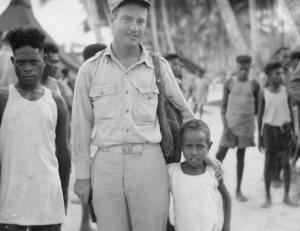 Lt. Al with his native pals. Papua New Guinea - 1944