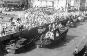SAILORS GALORE - The Navy boys secure their landing craft - Leyte Philippines 1945