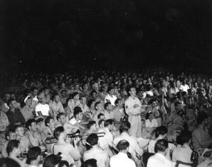 SHOWTIME USO band helps the troops celebrate the JAPANESE SURRENDER. Manila Philippines 1945