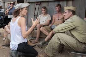 Director Angelina Jolie at work on Unbroken